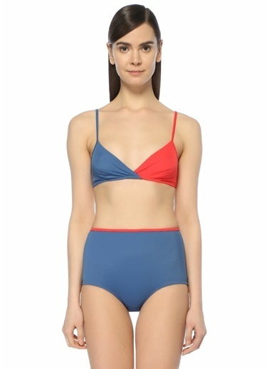 Solid & Stripe Bikini Üst Mavi